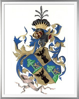Armoiries ABBATUCCI d'après un document ancien - Huile sur papier et feuille d'or - (c)HERALDIKER