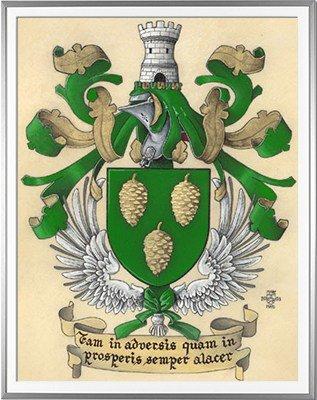 Armoiries ALLEGRE Création originale - Huile sur parchemin et feuille d'or - (c)HERALDIKER