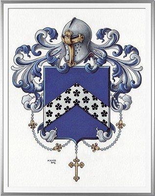 Armoiries AUBRY Création originale - Huile sur parchemin et feuille d'or - (c)HERALDIKER