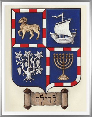 Blason BALLOUL Création originale - Huile sur parchemin et feuille d'or - (c)HERALDIKER