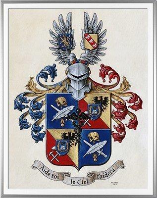 Armoiries BAULIER Création originale - Huile sur parchemin et feuille d'or - (c)HERALDIKER