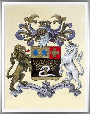 Armoiries BELMAS Création originale - Huile sur parchemin et feuille d'or - (c)HERALDIKER