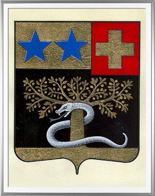 Blason BELMAS Création originale - Huile sur parchemin et feuille d'or - (c)HERALDIKER