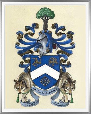 Armoiries BEVELACQUA Création originale - Huile sur parchemin et feuille d'or - (c)HERALDIKER