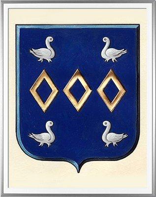 Blason BOUCHAUD Création originale - Huile sur parchemin et feuille d'or - (c)HERALDIKER