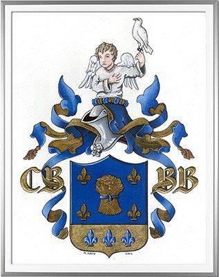 Armoiries BOUILLIS Création originale - Huile sur parchemin et feuille d'or - (c)HERALDIKER