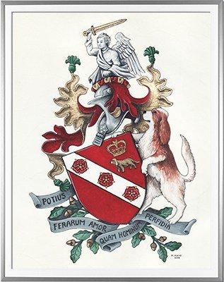 Armoiries BOUTREAU Création originale - Huile sur parchemin et feuille d'or - (c)HERALDIKER