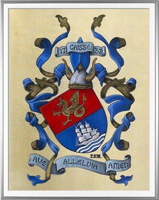 Armoiries CAISSE Création originale - Huile sur parchemin et feuille d'or - (c)HERALDIKER