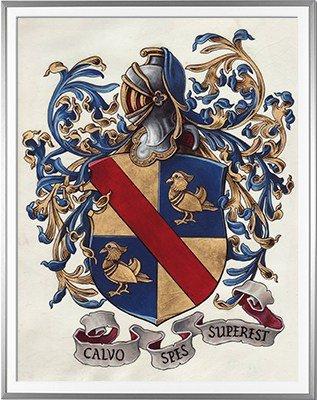 Armoiries CALVO Création originale - Huile sur parchemin et feuille d'or - (c)HERALDIKER