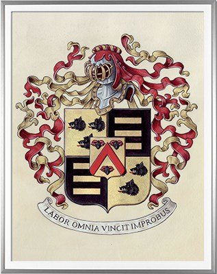 Armoiries CLAIS Création originale - Huile sur parchemin et feuille d'or - (c)HERALDIKER