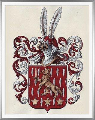 Armoiries CLERC Création originale - Huile sur parchemin et feuille d'or - (c)HERALDIKER