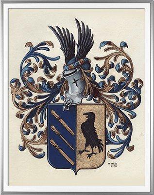 Armoiries CORNIL Création originale - Huile sur parchemin et feuille d'or - (c)HERALDIKER