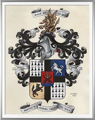 Armoiries DELACOURE Création originale - Huile sur parchemin et feuille d'or - (c)HERALDIKER