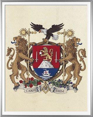 Armoiries DELOFFRE Création originale  Huile sur parchemin et feuille d'or - (c)HERALDIKER