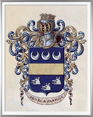 Armoiries DUVAL de FRAVILLE Création originale - Huile sur parchemin et feuille d'or - (c)HERALDIKER
