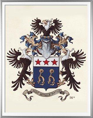Armoiries GAUTIER d'ARTIGUE Création originale - Huile sur parchemin et feuille d'or - (c)HERALDIKER