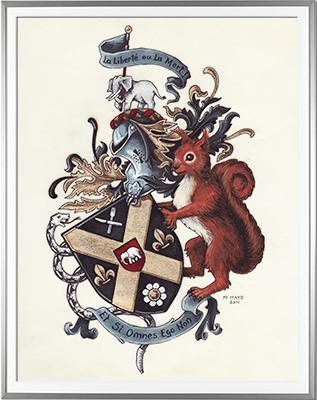 Armoiries GENISSON Création originale - Huile sur parchemin et feuille d'or - (c)HERALDIKER
