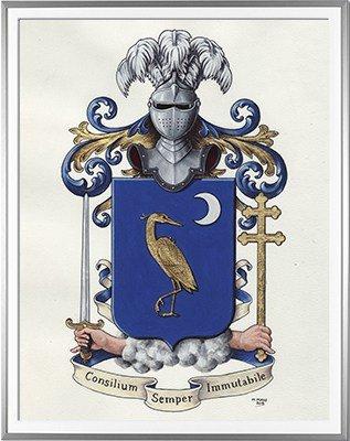 Armoiries GENOUX Création originale - Huile sur parchemin et feuille d'or - (c)HERALDIKER