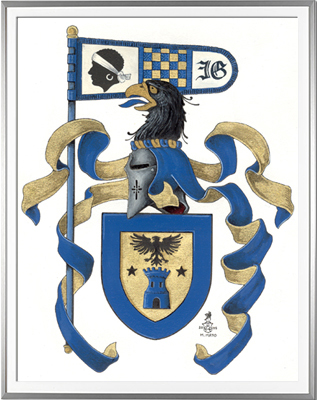 Armoiries GIOVANANGELI Création originale - Huile sur papier et feuille d'or - (c)HERALDIKER