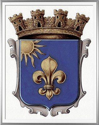 Armoiries / Blason de L'ILE ROUSSE (Corse) Création originale commandée et réalisée pour la mairie - Huile sur papier et feuille d'or - (c)HERALDIKER
