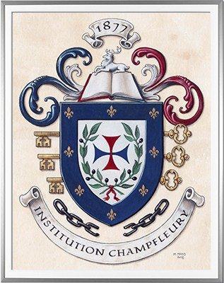 Armoiries INSTITUTION CHAMPFLEURY - Les Trinitaires / Création originale commandée par M. le directeur. Ces armoiries sont brodées sur les uniformes des élèves - Huile sur papier et feuille d'or - (c)HERALDIKER