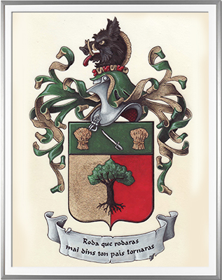 Armoiries LACASSIN Création originale - Huile sur parchemin et feuille d'or - (c)HERALDIKER