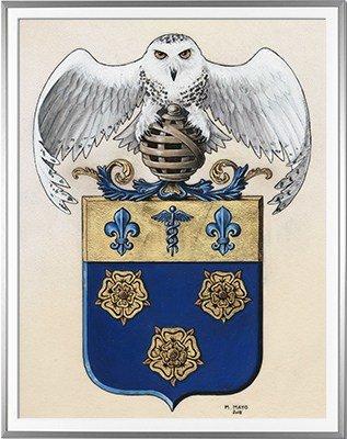 Armoiries LARIVEE Création originale - Huile sur parchemin et feuille d'or - (c)HERALDIKER