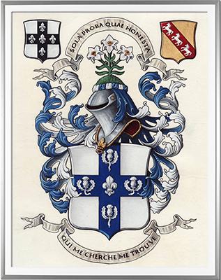 Armoiries NEVE de TIVETSHALL Création originale - Huile sur parchemin et feuille d'or - (c)HERALDIKER