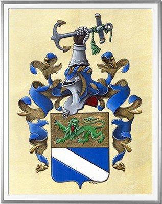 Armoiries PASCAL Création originale - Huile sur parchemin et feuille d'or - (c)HERALDIKER