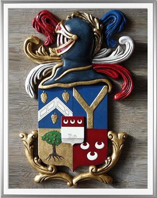 Armoiries PEPIN réalisées à partir d'un document ancien et modelées et sculptées par HERALDIKER - Huile et feuille d'or - (c)HERALDIKER