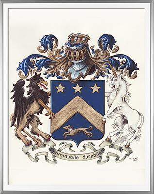 Armoiries ROLLAND Création originale - Huile sur parchemin et feuille d'or - (c)HERALDIKER