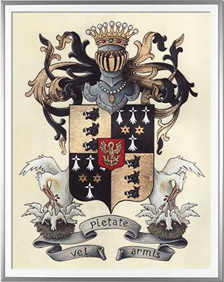 Armoiries ROYER de FONTENAY Création originale - Huile sur parchemin et feuille d'or - (c)HERALDIKER