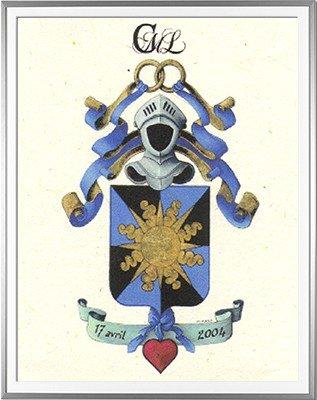 Armoiries SICOT Création originale créée pour un faire-part de mariage - Huile sur papier et feuille d'or - (c)HERALDIKER