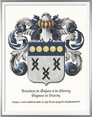 Armoiries BREVEDENT seigneur de Giverny - Création originale réalisée et commandée par la mairie de Giverny  -  Huile sur papier et feuille d'or (c)HERALDIKER