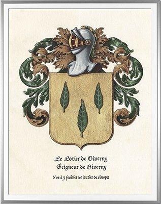 Armoiries LE LORIER seigneur de Giverny - Création originale réalisée et commandée par la mairie de Giverny  - Huile sur papier et feuille d'or - (c)HERALDIKER