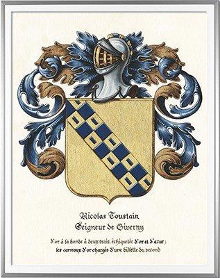 Armoiries TOUSTAIN seigneur de Giverny - Création originale réalisée et commandée par la mairie de Giverny  - Huile sur papier et feuille d'or (c)HERALDIKER