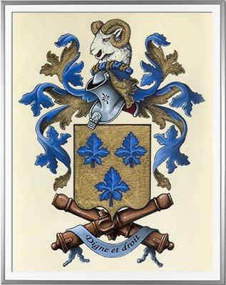 Armoiries VIGNARD Création originale - Huile sur parchemin et feuille d'or - (c)HERALDIKER
