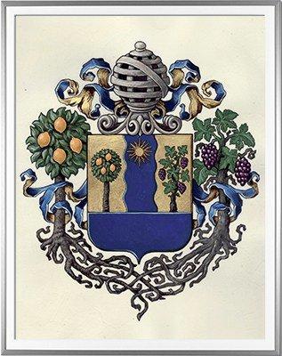 Armoiries d'AMORE Création originale - Huile sur parchemin et feuille d'or - (c)HERALDIKER