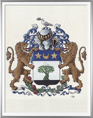 Armoiries de FITTE - Création originale  Huile sur parchemin et feuille d'or - (c)HERALDIKER
