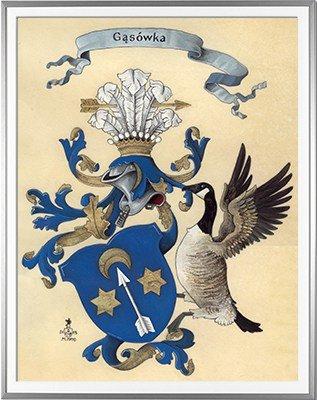Armoiries de GASSOWSKI Création originale - Huile sur parchemin et feuille d'or - (c)HERALDIKER