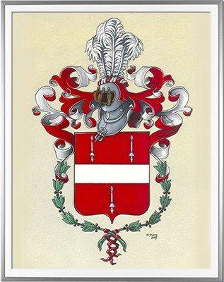Armoiries de LANCHY Création originale - Huile sur parchemin et feuille d'or - (c)HERALDIKER