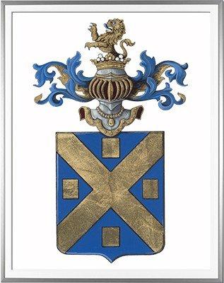 Armoiries de LANGLE d'après un ex libris ancien - Huile sur papier et feuille d'or - (c)HERALDIKER