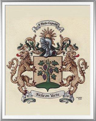 Armoiries de LAVIGNE SAINTE SUZANNE Création originale - Huile sur parchemin et feuille d'or - (c)HERALDIKER