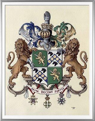 Armoiries DASNIERE de VEIGY Création originale - Huile sur parchemin et feuille d'or - (c)HERALDIKER