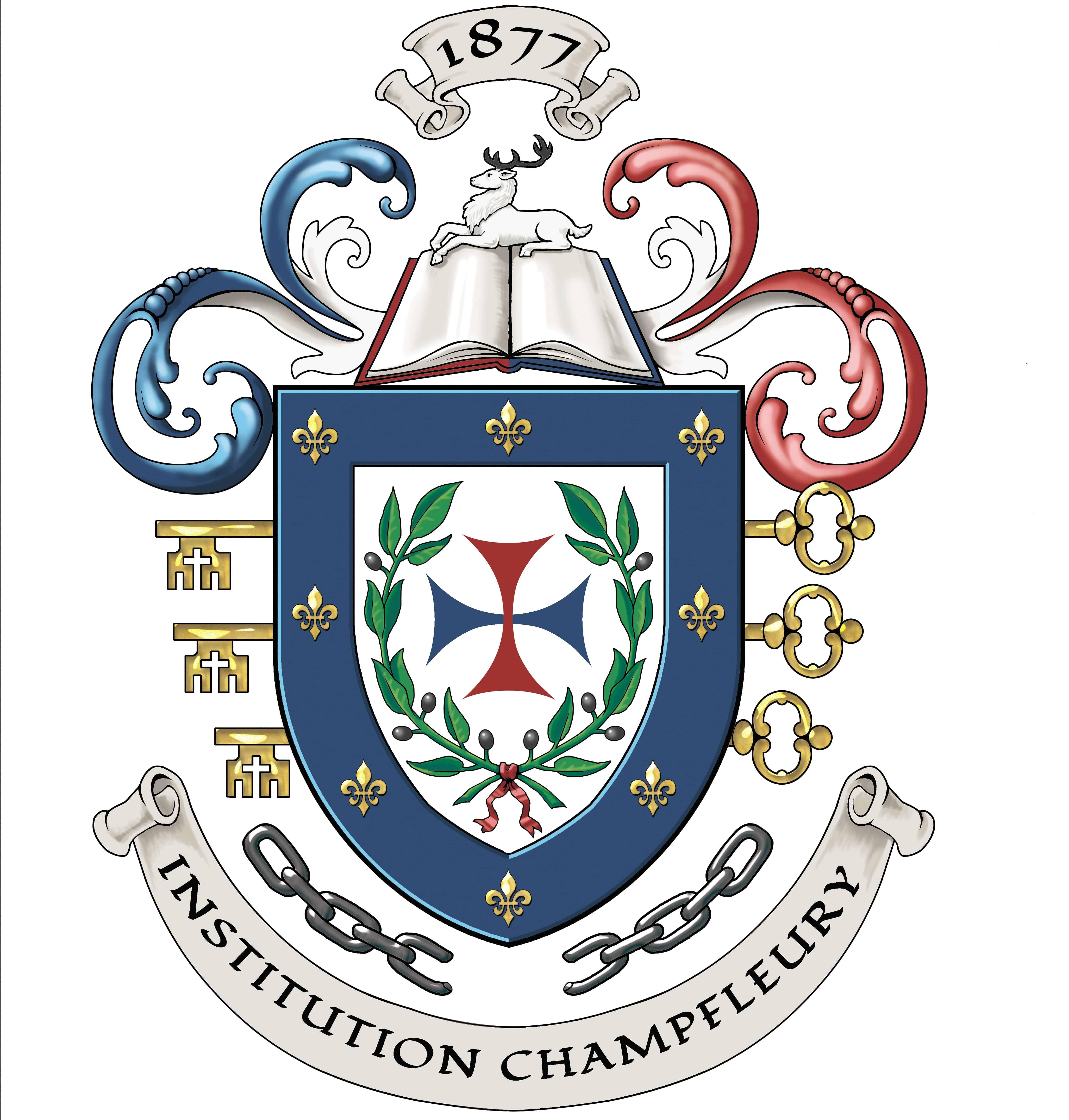 Armoiries INSTITUTION CHAMPFLEURY  Création originale des armoiries de l'école (c)HERALDIKER