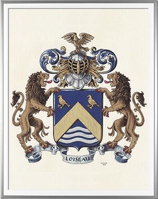 Armoiries LOISEAU Création originale  Huile sur papier et feuille d'or (c)HERALDIKER