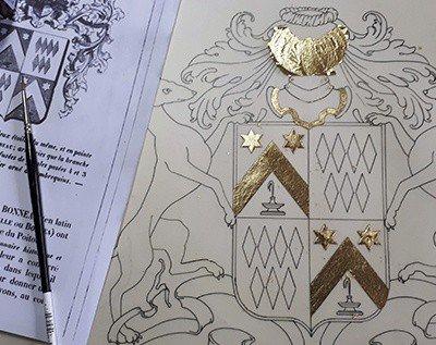 HERALDIKER - Etape 1 peintures des armoiries BONNEAU de LESTANG