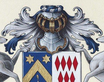 HERALDIKER - Détail 2 peintures des armoiries BONNEAU de LESTANG