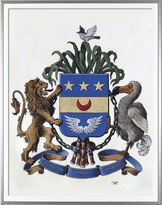 Armoiries FAUVETTE - brisure Bionneau d'Eyragues - Création originale  Huile sur parchemin et feuille d'or (c)HERALDIKER