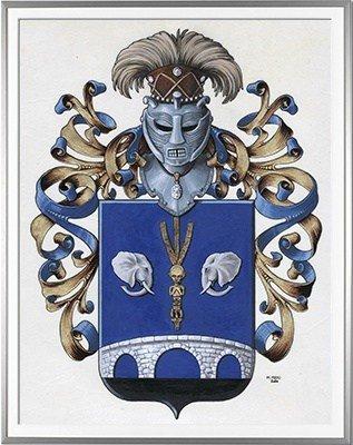 Armoiries NAOMI ORNELLA OMEONGA NDALA WA KAYEMBE Création originale  Huile sur parchemin et feuille d'or (c)HERALDIKER